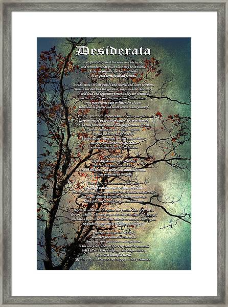 Desiderata Inspiration Over Old Textured Tree Framed Print