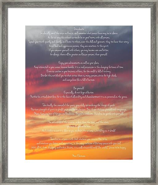 Desiderata Sky 2 Framed Print
