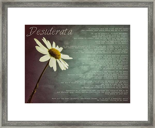 Desiderata With Daisy Framed Print