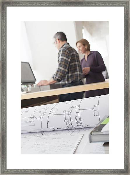 Designers And Architectural Plans Framed Print by Reza Estakhrian