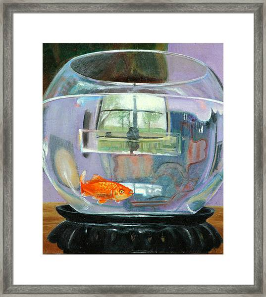 detail fish bowl of Fishing Framed Print