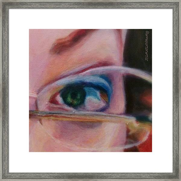 Detail From Portrait Of Chrissy An Acrylic Painting By Anna Porter Artist Framed Print