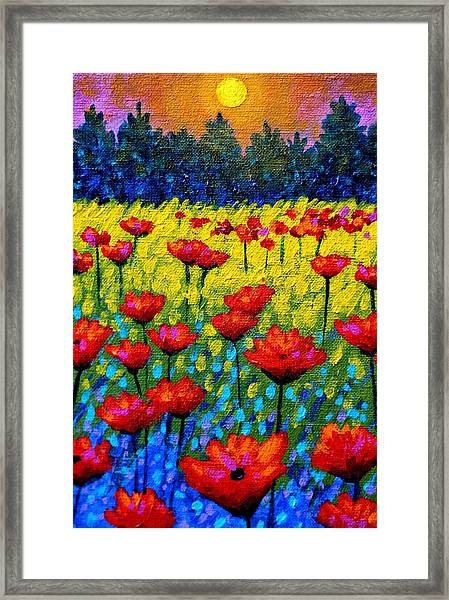 Detail From Twilight Poppies  Framed Print