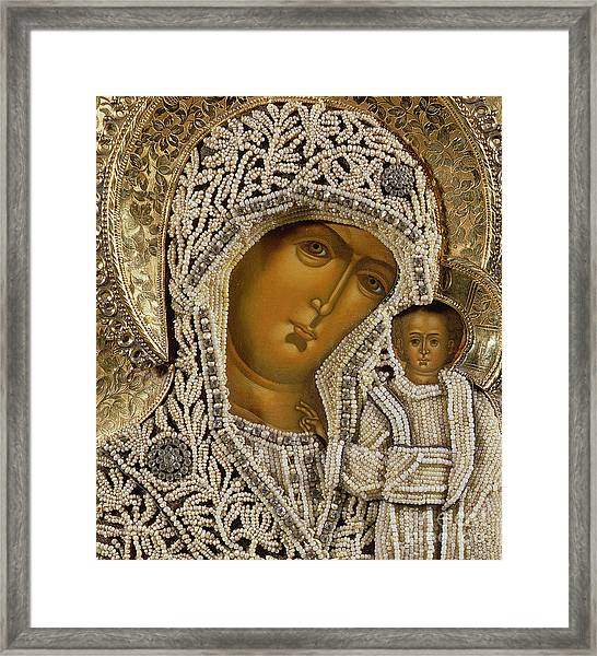 Detail Of An Icon Showing The Virgin Of Kazan By Yegor Petrov Framed Print