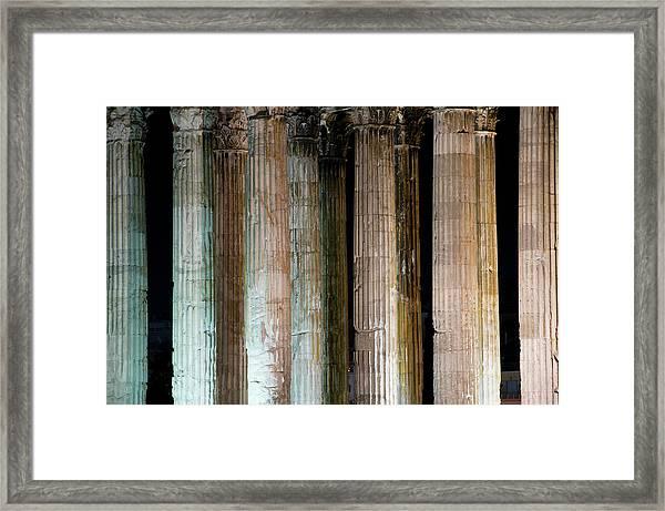 Detail Of Surviving Columns On Temple Framed Print by Krzysztof Dydynski