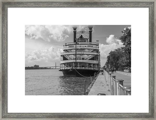 Detroit River Princess Black And White  Framed Print