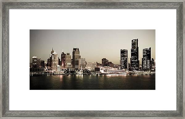 Detroit Skyline At Night Framed Print