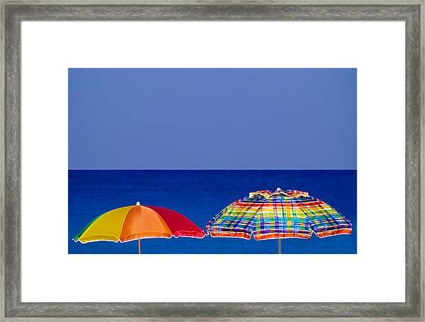 Deuce Umbrellas Framed Print