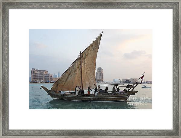 Dhow And Hotels Framed Print