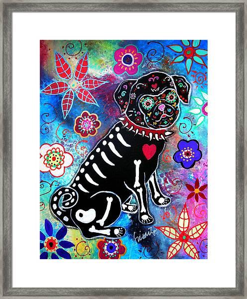 Dia De Los Muertos Pug Framed Print