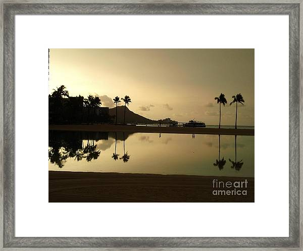 Diamond Head Reflection Framed Print