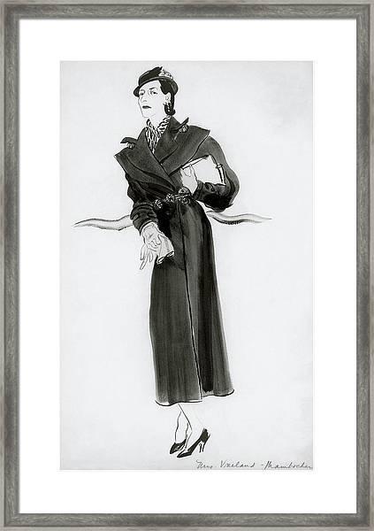 Diana Vreeland Wearing A Mainbocher Coat Framed Print