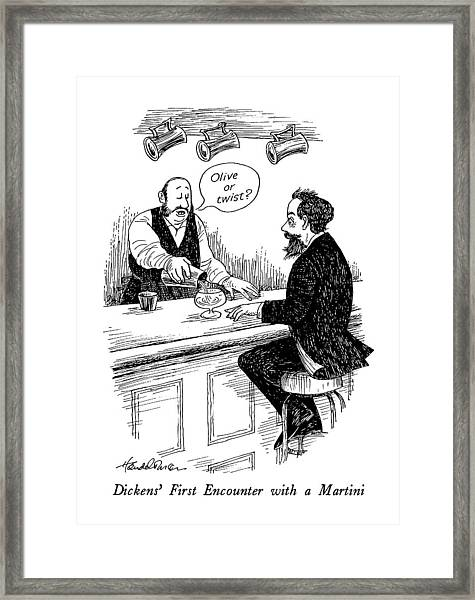Dickens' First Encounter With A Martini Framed Print