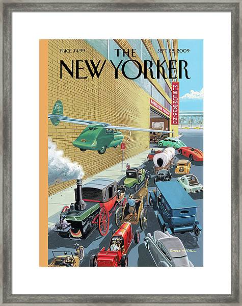 Different Types Of Cars From The Past Waiting Framed Print by Bruce McCall