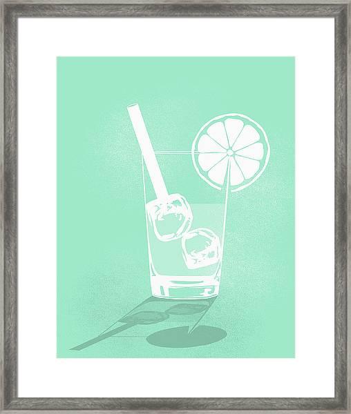 Digital Composite Image Of Cold Drink Framed Print by Malte Mueller