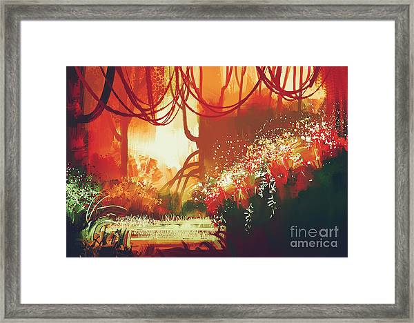 Digital Painting Of Fantasy Autumn Framed Print by Tithi Luadthong