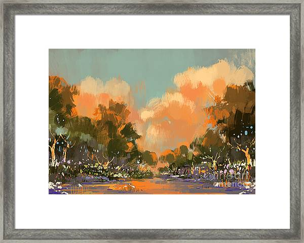 Digital Painting Of The Colorful Path Framed Print