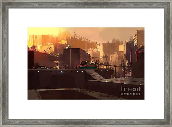 Digital Painting Showing Futuristic Framed Print