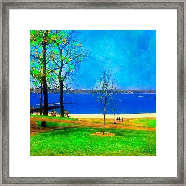#digitalart #landscape #beach #park Framed Print