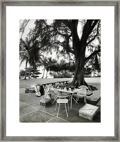 Dining Area On Patio Framed Print