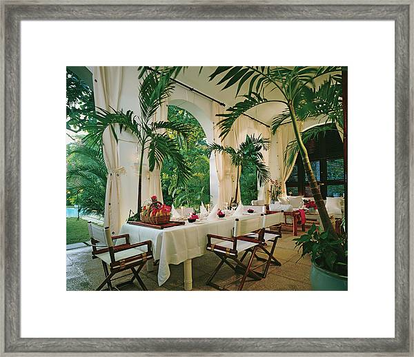 Dining Room With Place Setting Framed Print by Durston Saylor