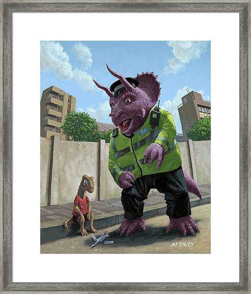 Dinosaur Community Policeman Helping Youngster Framed Print