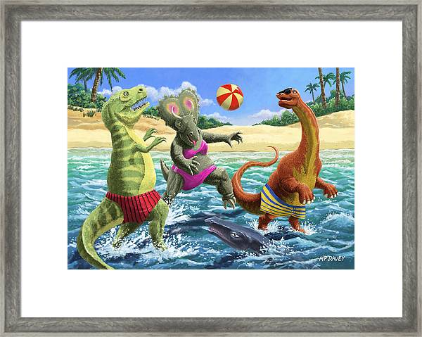 dinosaur fun playing Volleyball on a beach vacation Framed Print