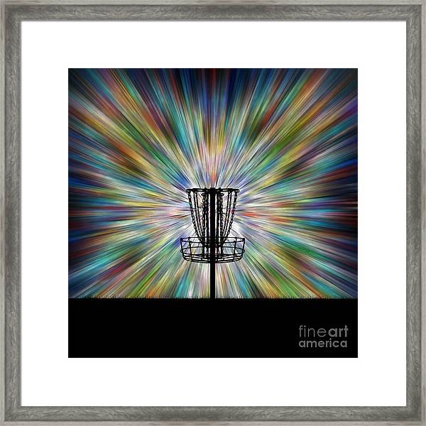 Disc Golf Basket Silhouette Framed Print
