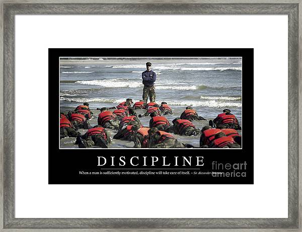 Discipline Inspirational Quote Framed Print