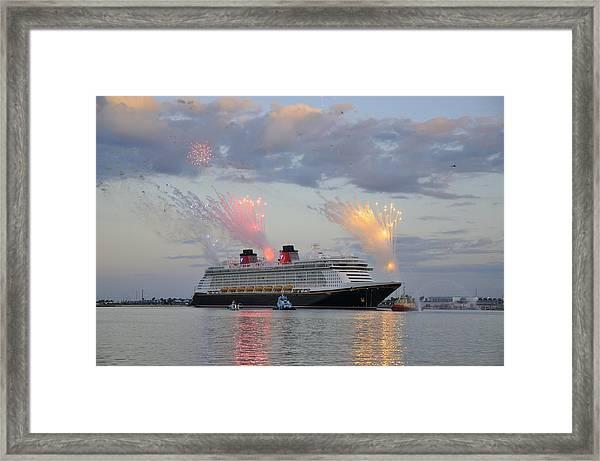 Disney Fantasy And Fireworks Framed Print