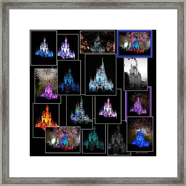 Disney Magic Kingdom Castle Collage Framed Print