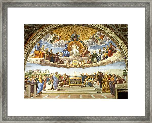 Framed Print featuring the painting Disputation Of Holy Sacrament. by Raphael