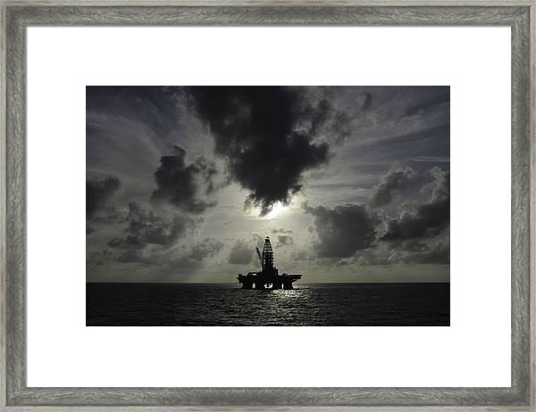 Distant Offshore Oil Rig Framed Print