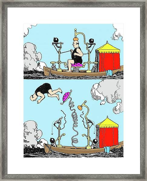 Diving Boat By W. Heath Robinson Framed Print by Adam Hart-davis/science Photo Library
