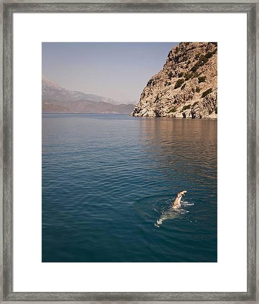 Diving Feet Framed Print