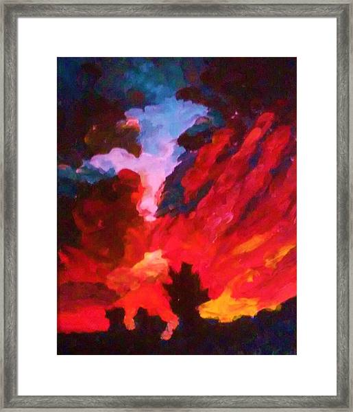Framed Print featuring the painting Dk Sunset by Ray Khalife