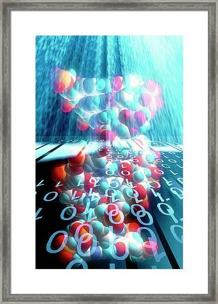 Dna Molecule And Binary Code Framed Print