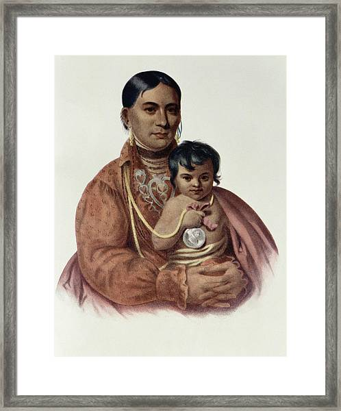 Do-hon-go, An Osage Woman, Illustration From The Indian Tribes Of North America, Vol.1, By Thomas Framed Print