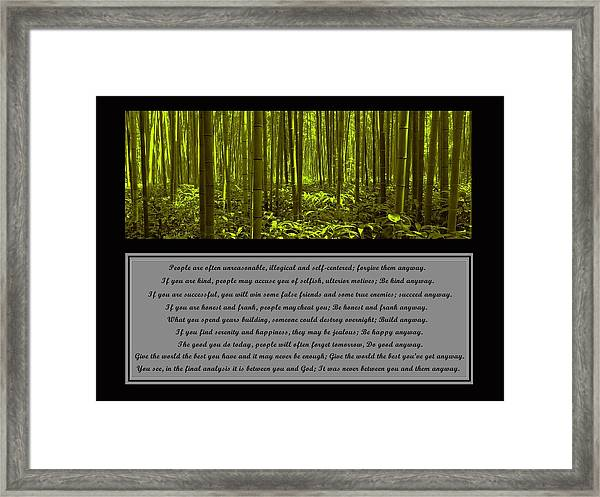 Framed Print featuring the photograph Do It Anyway Bamboo Forest by David Dehner