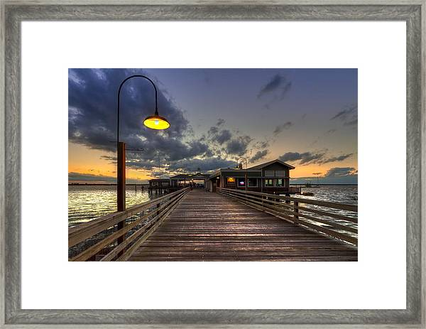 Dock Lights At Jekyll Island Framed Print