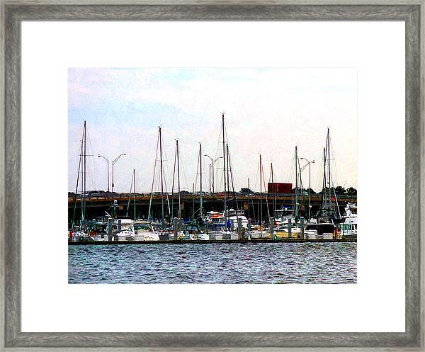 Docked Boats Norfolk Va Framed Print