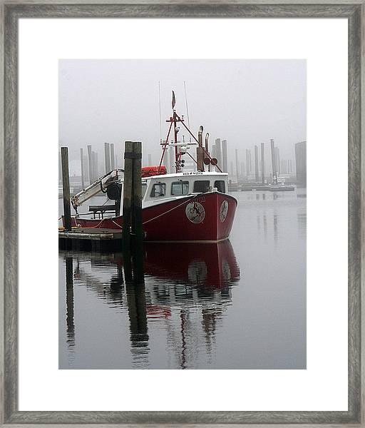Docked In Fog Framed Print