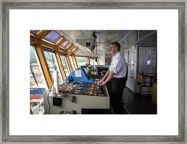 Docking A Z-drive Ship Framed Print