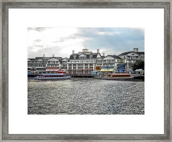 Docking At The Boardwalk Walt Disney World Framed Print