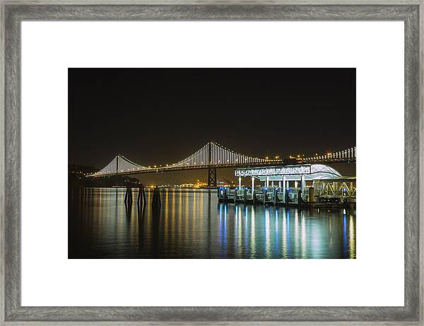 Docks And Bay Lights Framed Print