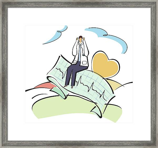 Doctor Sitting On An Ecg Report Framed Print by Fanatic Studio / Science Photo Library