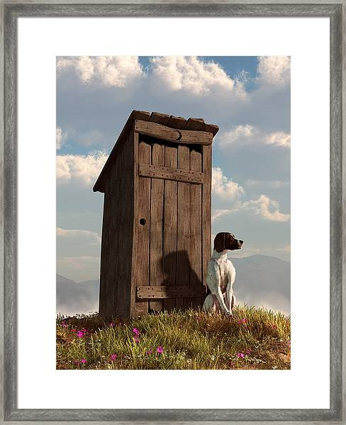 Dog Guarding An Outhouse Framed Print