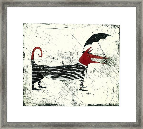 Dog Person With Umbrella Framed Print by Tim Southall