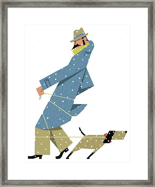 Dog Tugging On Leash Wrapped Round Man Framed Print