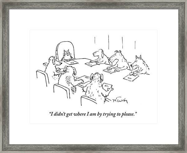 Dogs At A Meeting Framed Print